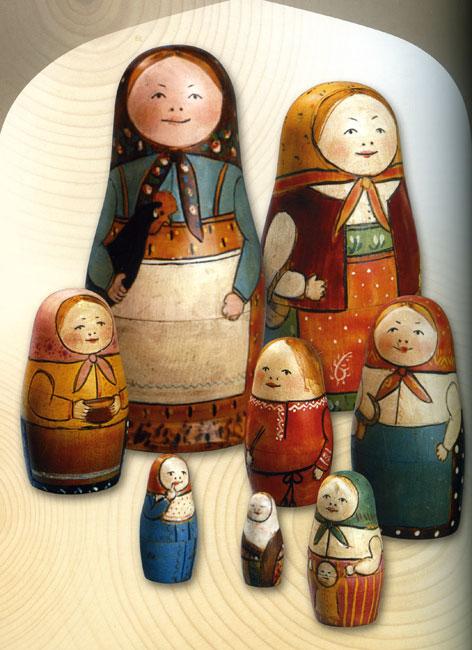 Матрёшка «Девушка с петухом», 8-местная. Конец 1890-х гг.